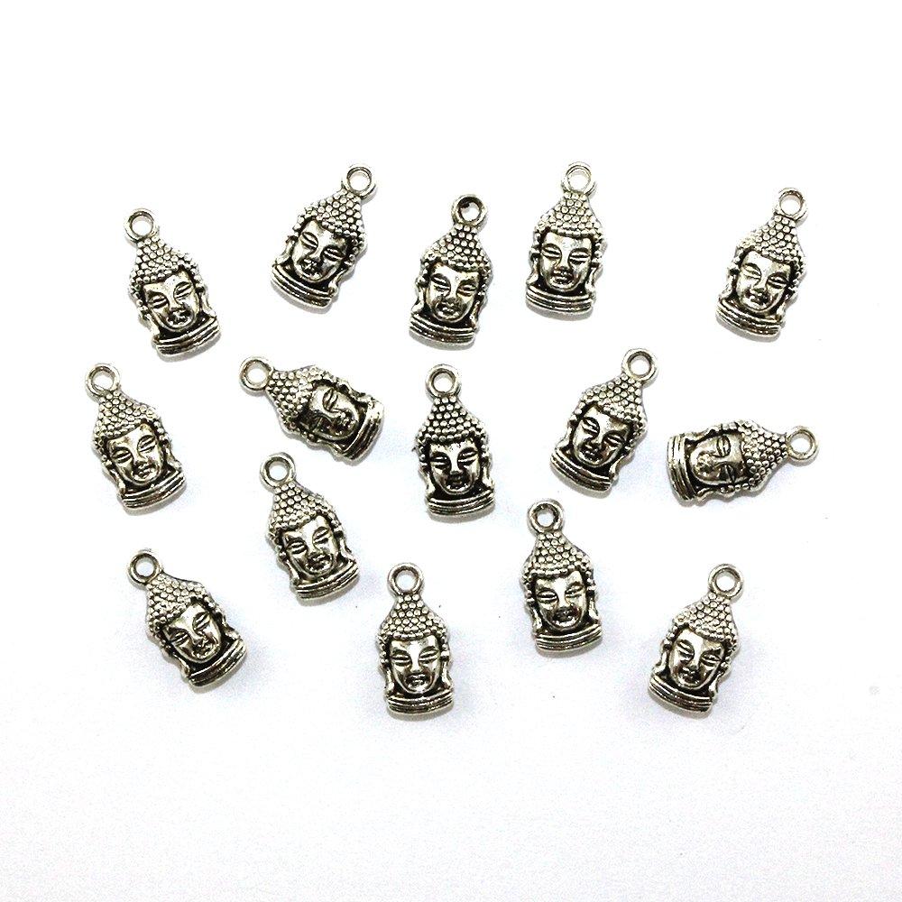 Kovový přívěsek - stříbrný - Buddha - 17 x 8 x 5 mm - 1 ks