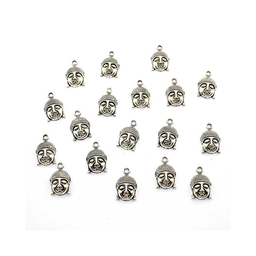 Buddha - stříbrný - 22 x 14,5 x 5 mm - 1 ks