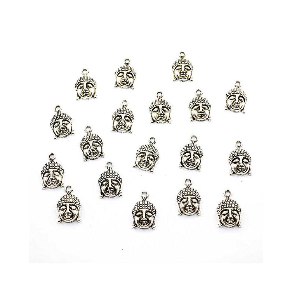 Kovový přívěsek - stříbrný - Buddha - 22 x 14,5 x 5 mm - 1 ks