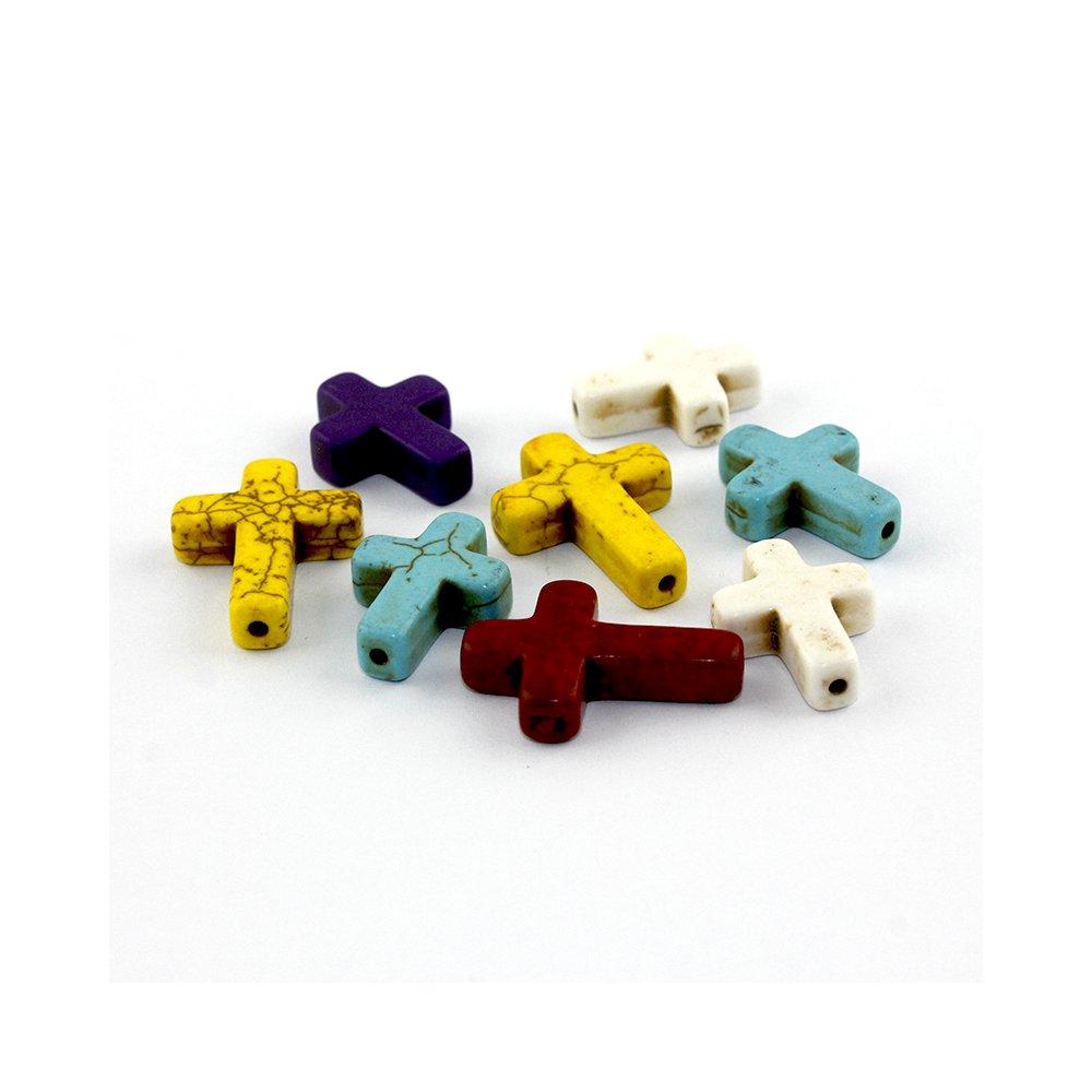 Kříž ze syntetického tyrkysu - různá provedení - 20 x 15 x 4 mm - 1 ks