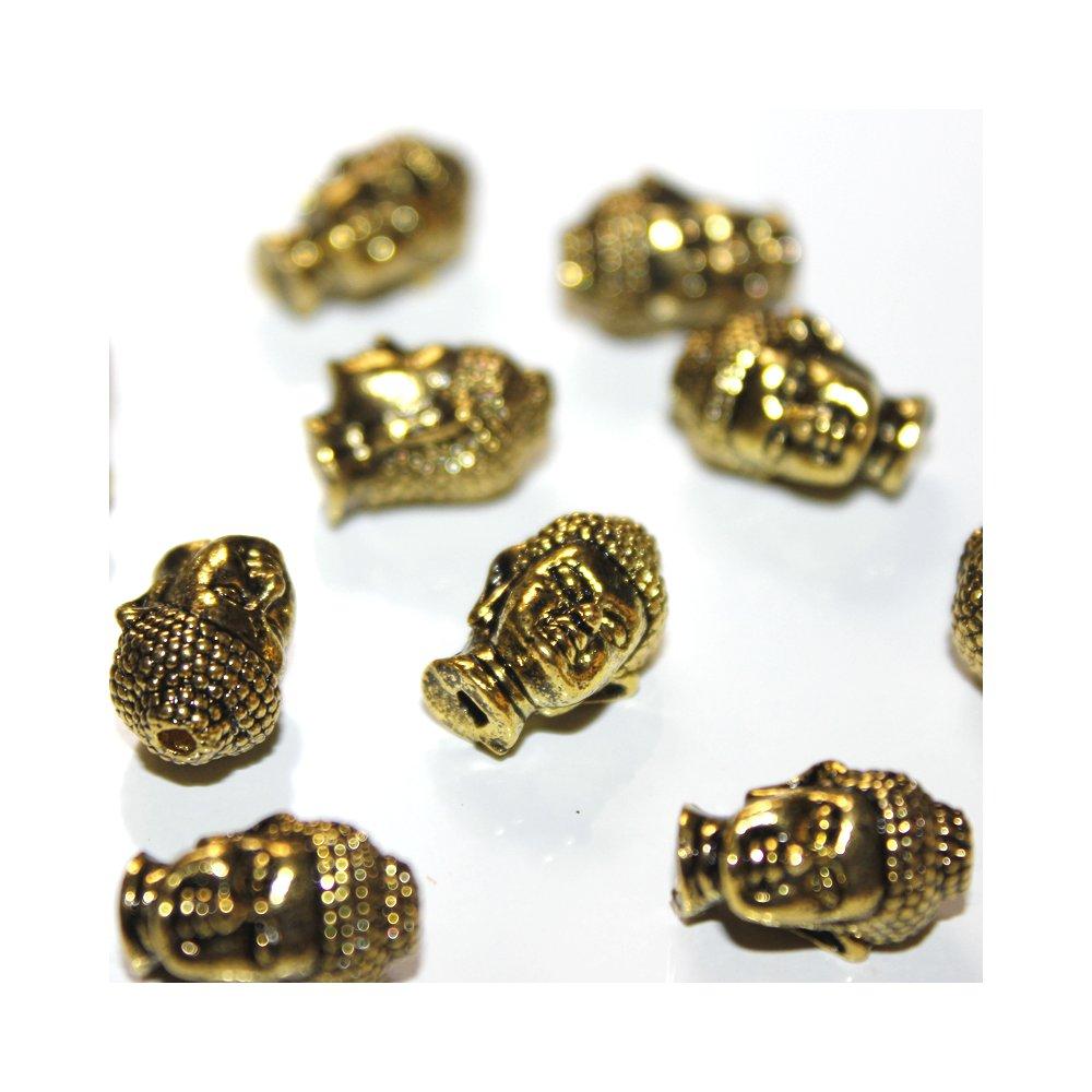 Kovový korálek - starozlatý - Buddha - 13 x 9 x 10 mm - 1 ks