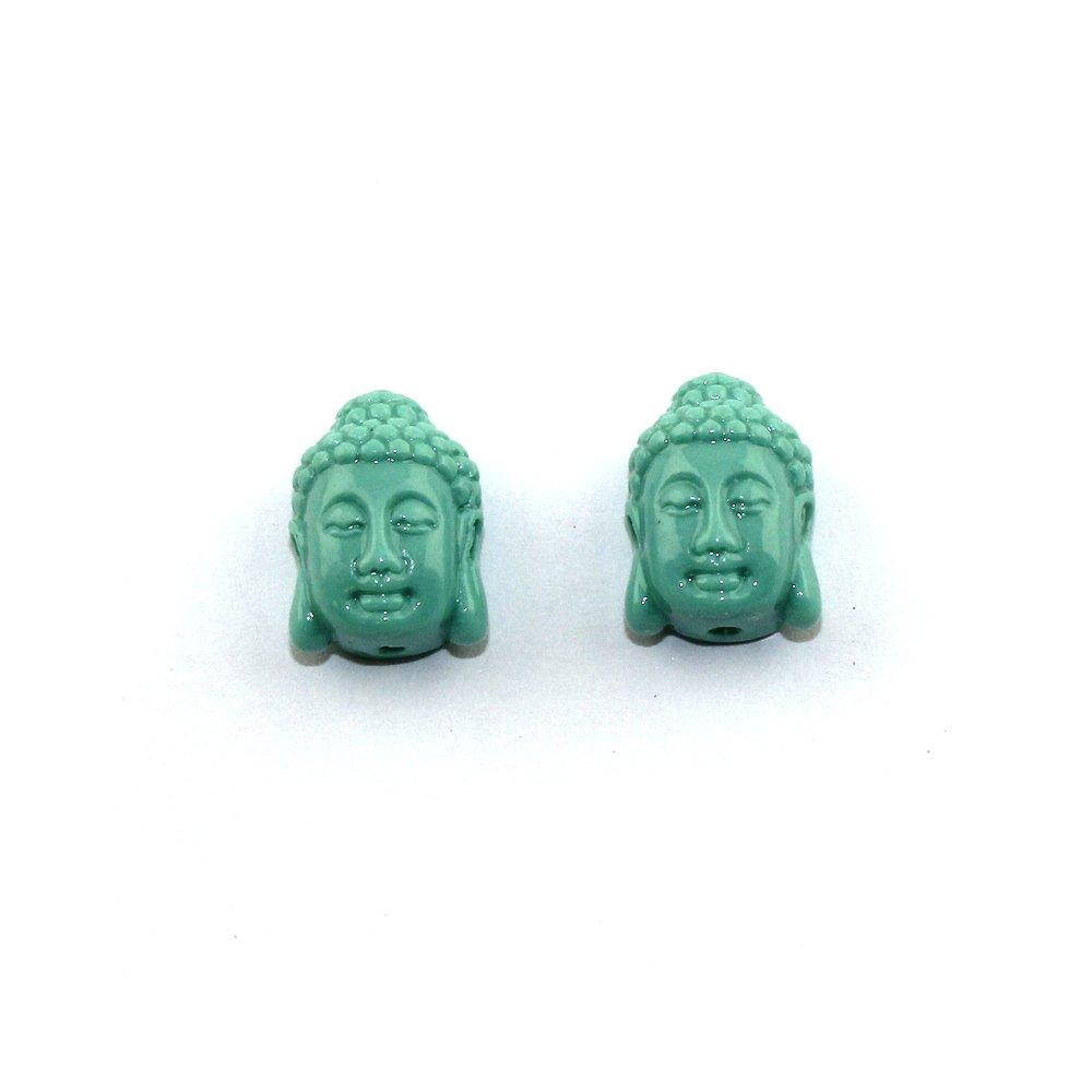 Buddha ze syntetického korálu - tyrkysový - 15,5 x 11 x 6 mm - 1 ks