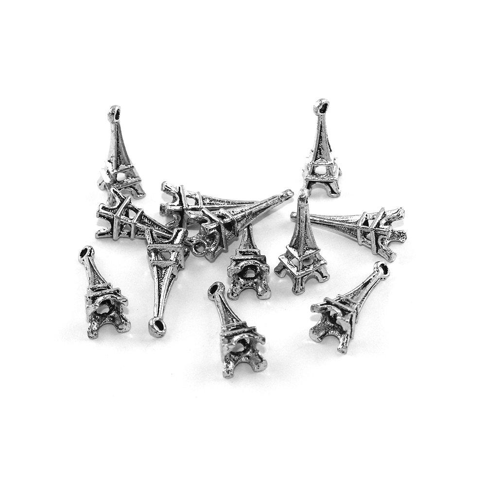 Kovový přívěsek - stříbrný - Eiffelova věž - 23 x 8 x 8 mm - 1 ks