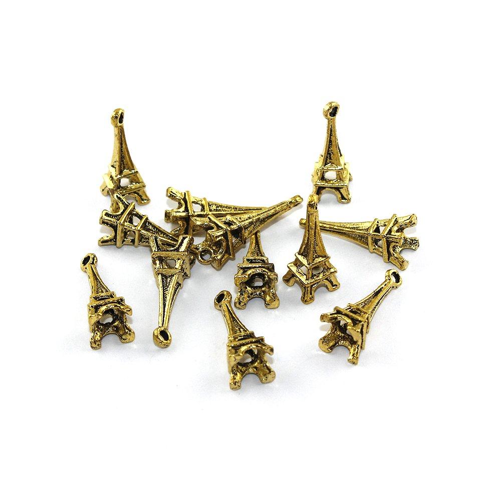 Kovový přívěsek - zlatý - Eiffelova věž - 23 x 8 x 8 mm - 1 ks