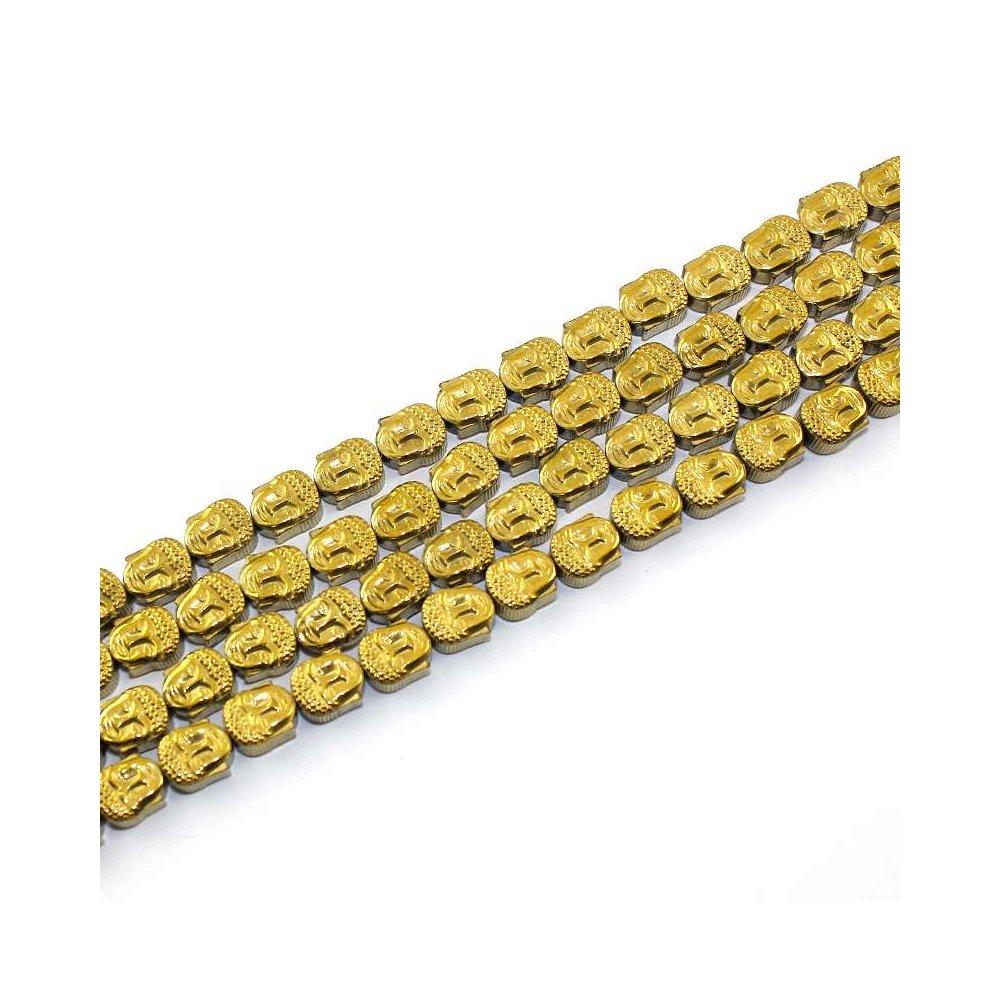 Buddha hematitový (pokovený) - 8 x 7 x 4 mm - zlatý - 1 ks