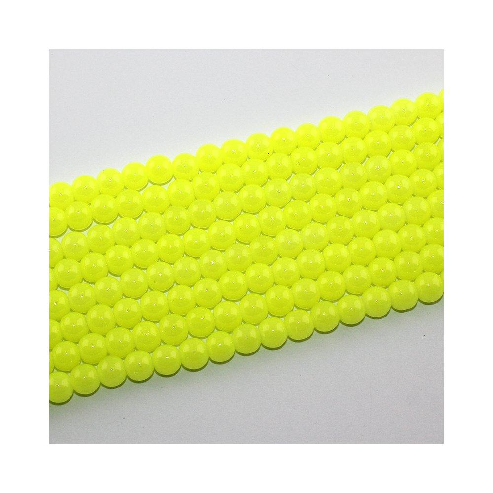 Imitace nefritových korálků - žluté - ∅ 8 mm - 10 ks