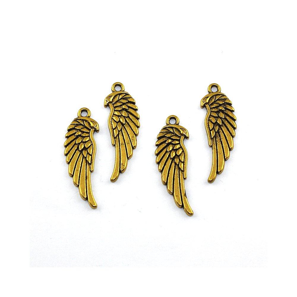 Kovový přívěsek - zlatý - křídlo - 34 x 11 x 2 mm - 1 ks