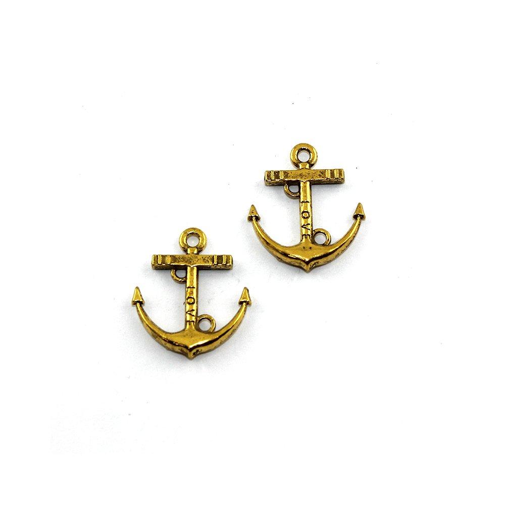 Kovový přívěsek - zlatý - kotva - 20 x 18 x 2 mm - 1 ks