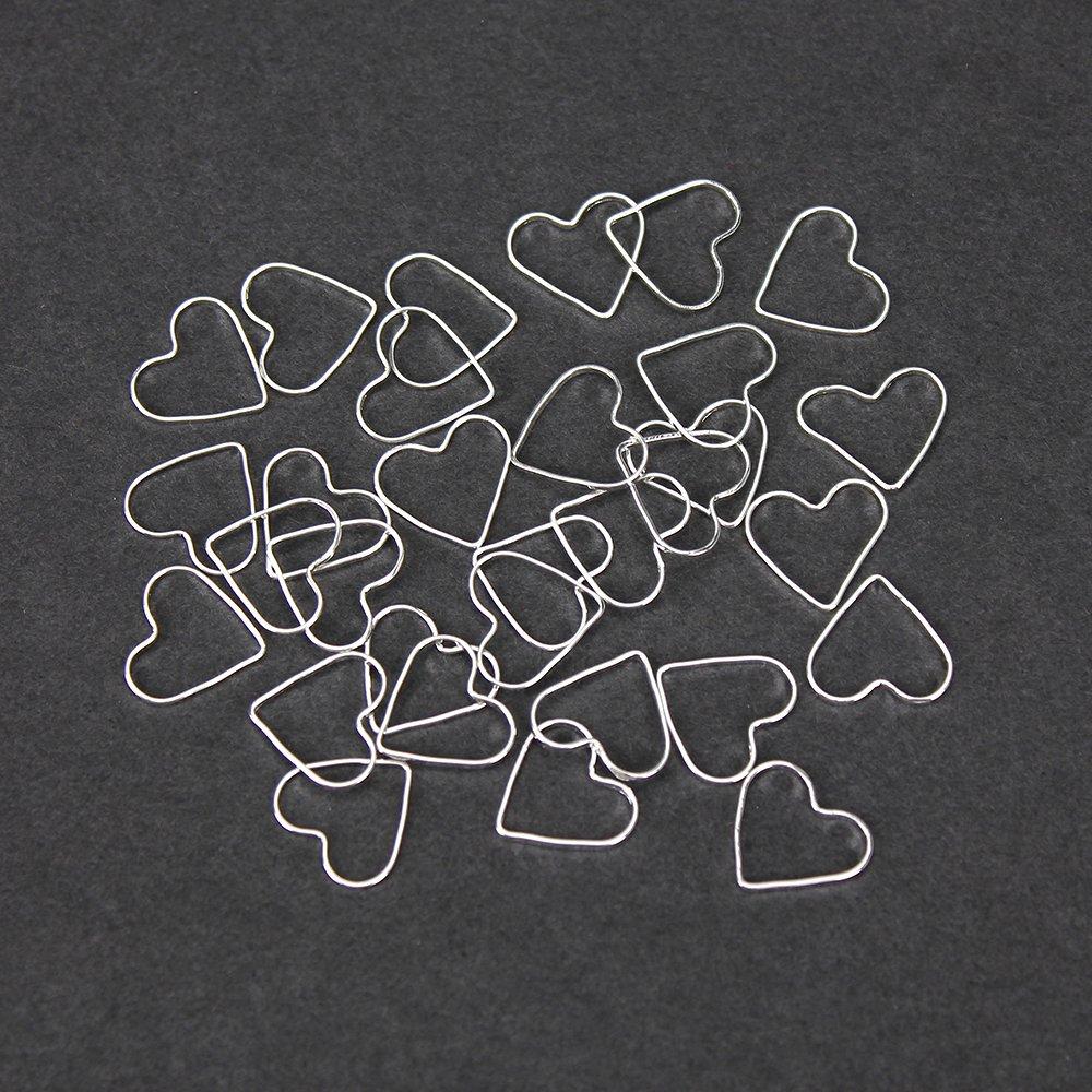 Mosazný spojovací mezidíl - stříbrný - srdce - 12 x 13,5 x 1 mm - 1 ks
