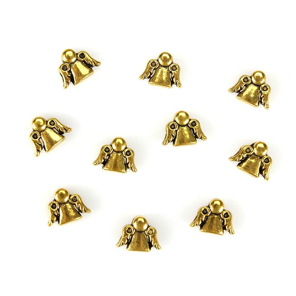 Kovový korálek - starozlatý - anděl - 10 x 13 x 6 mm - 1 ks