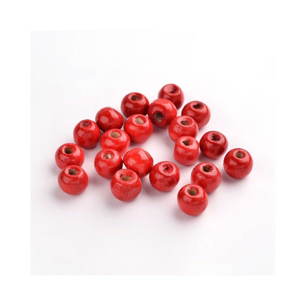 Dřevěné korálky - červené - ∅ 8 mm - 10 ks