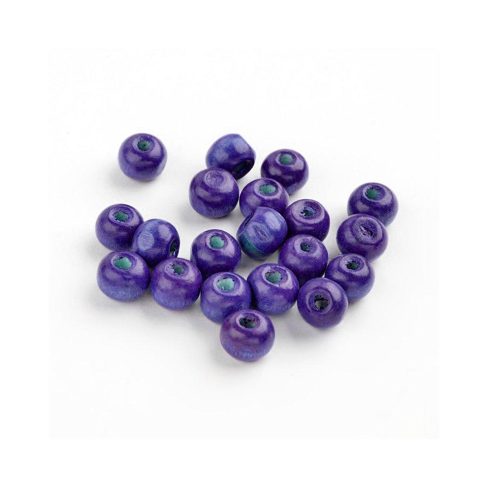 Dřevěné korálky - fialové - ∅ 6 mm - 10 ks