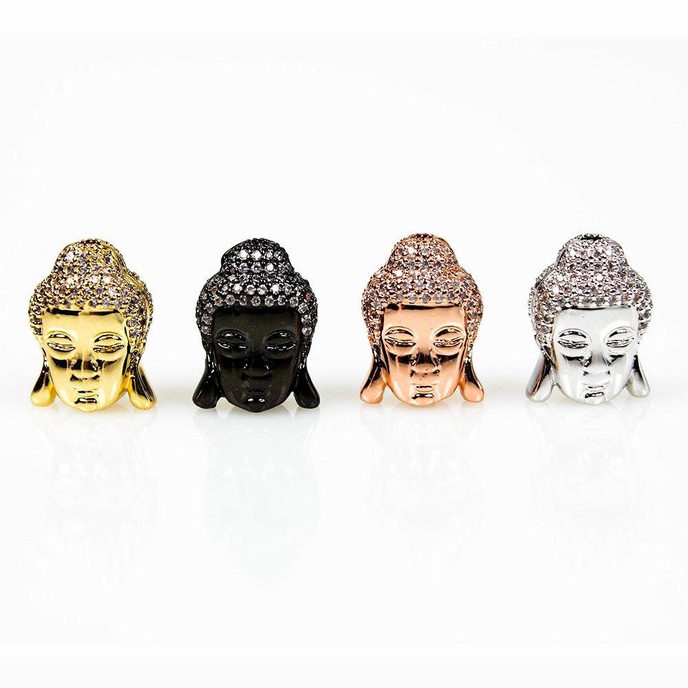Zlacený Buddha 24K s kubickými zirkony - různá provedení - 15 x 11 x 8 mm - 1 ks