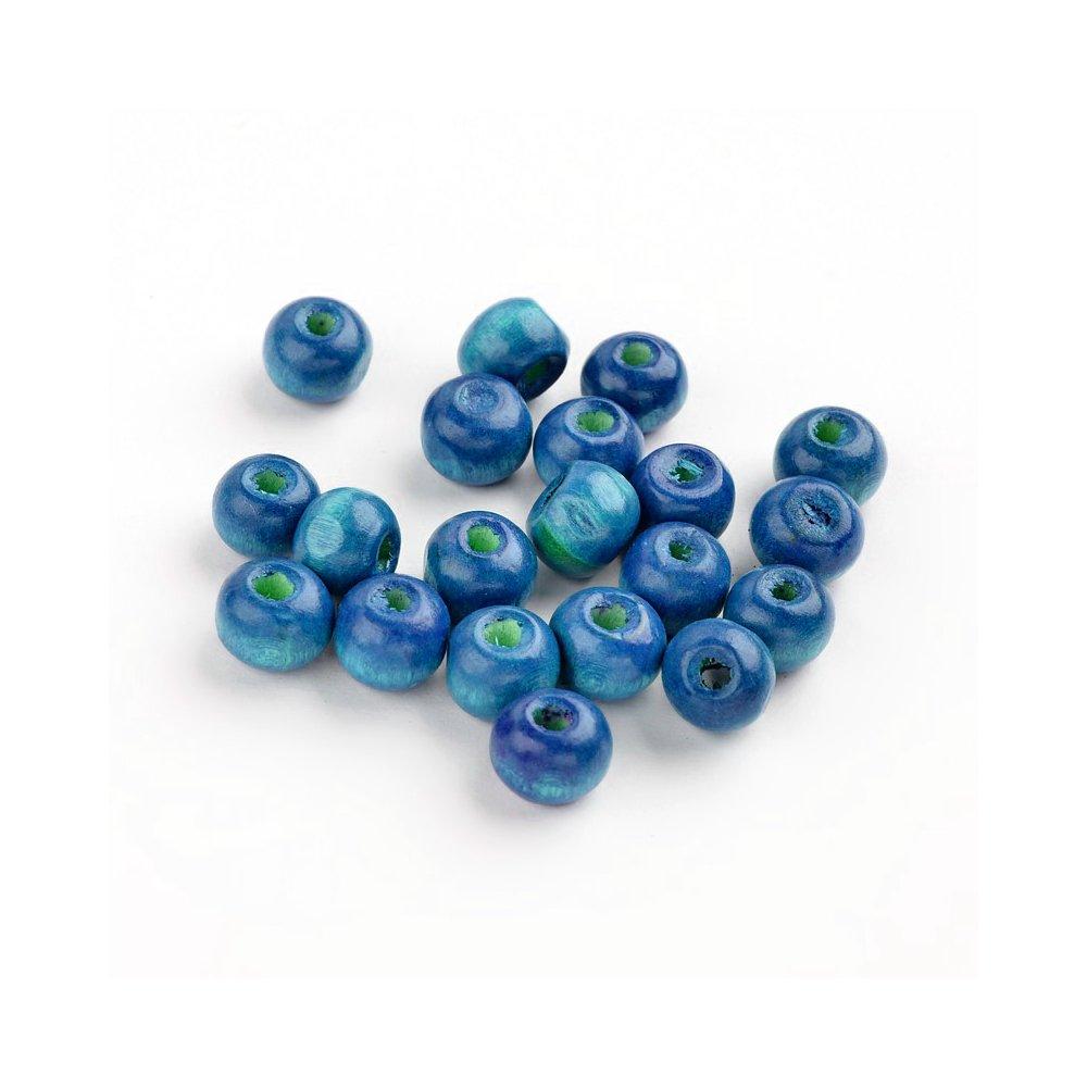 Dřevěné korálky - modré - ∅ 6 mm - 10 ks