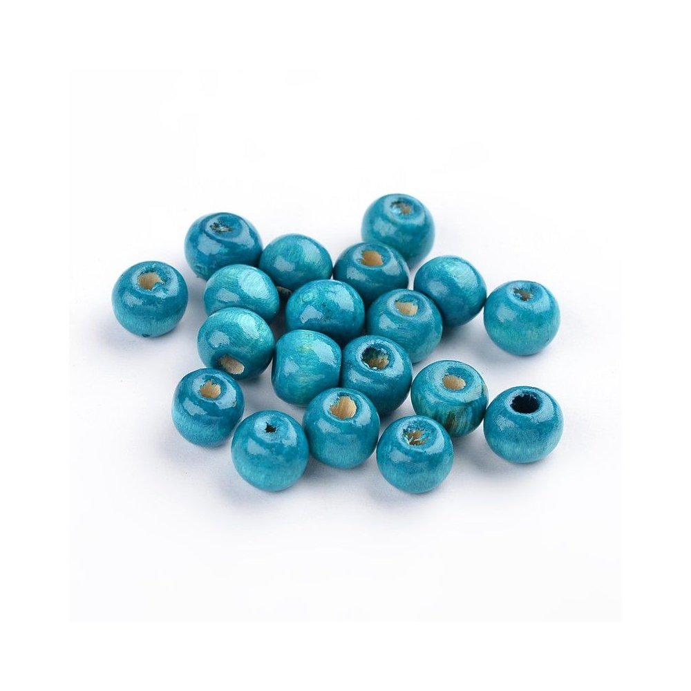 Dřevěné korálky - modré - ∅ 8 mm - 10 ks