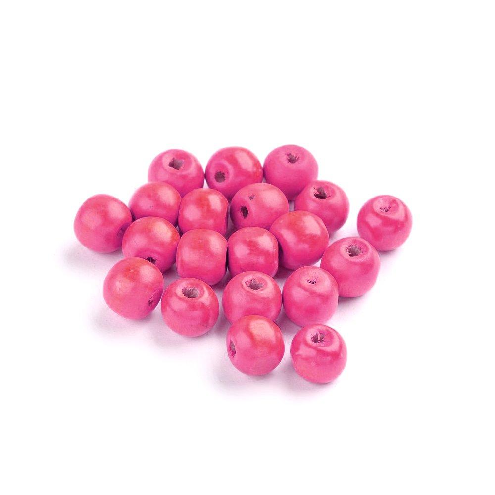 Dřevěné korálky - růžové - ∅ 8 mm - 10 ks