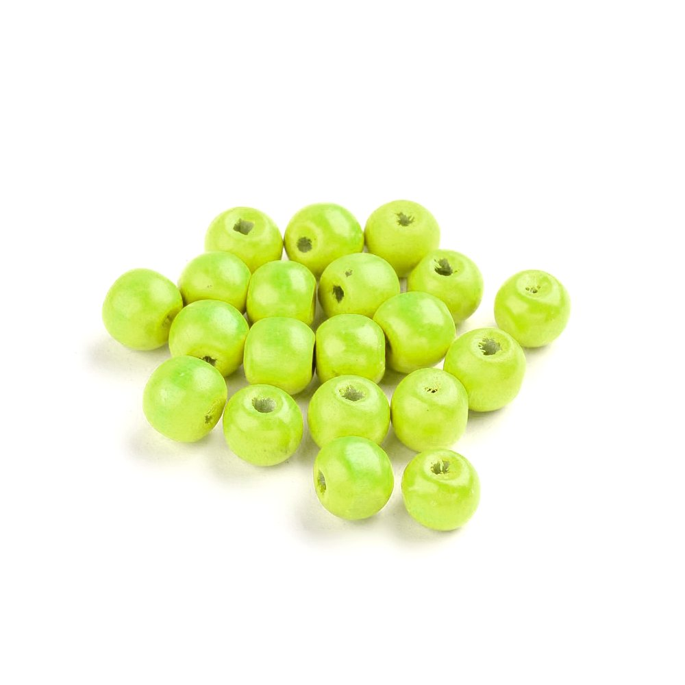 Dřevěné korálky - zelené - ∅ 8 mm - 10 ks