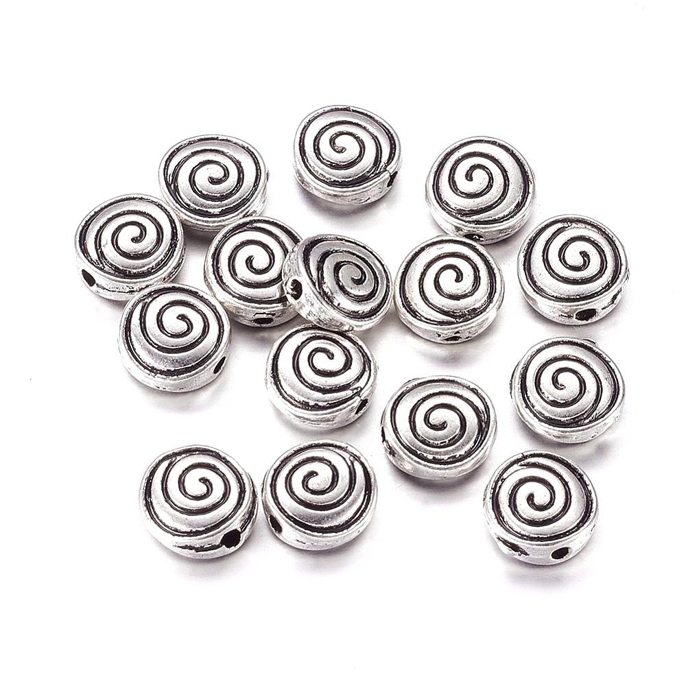 Kovový oddělovací korálek - spirála - starostříbrný - 8 x 8 x 4 mm - 1 ks