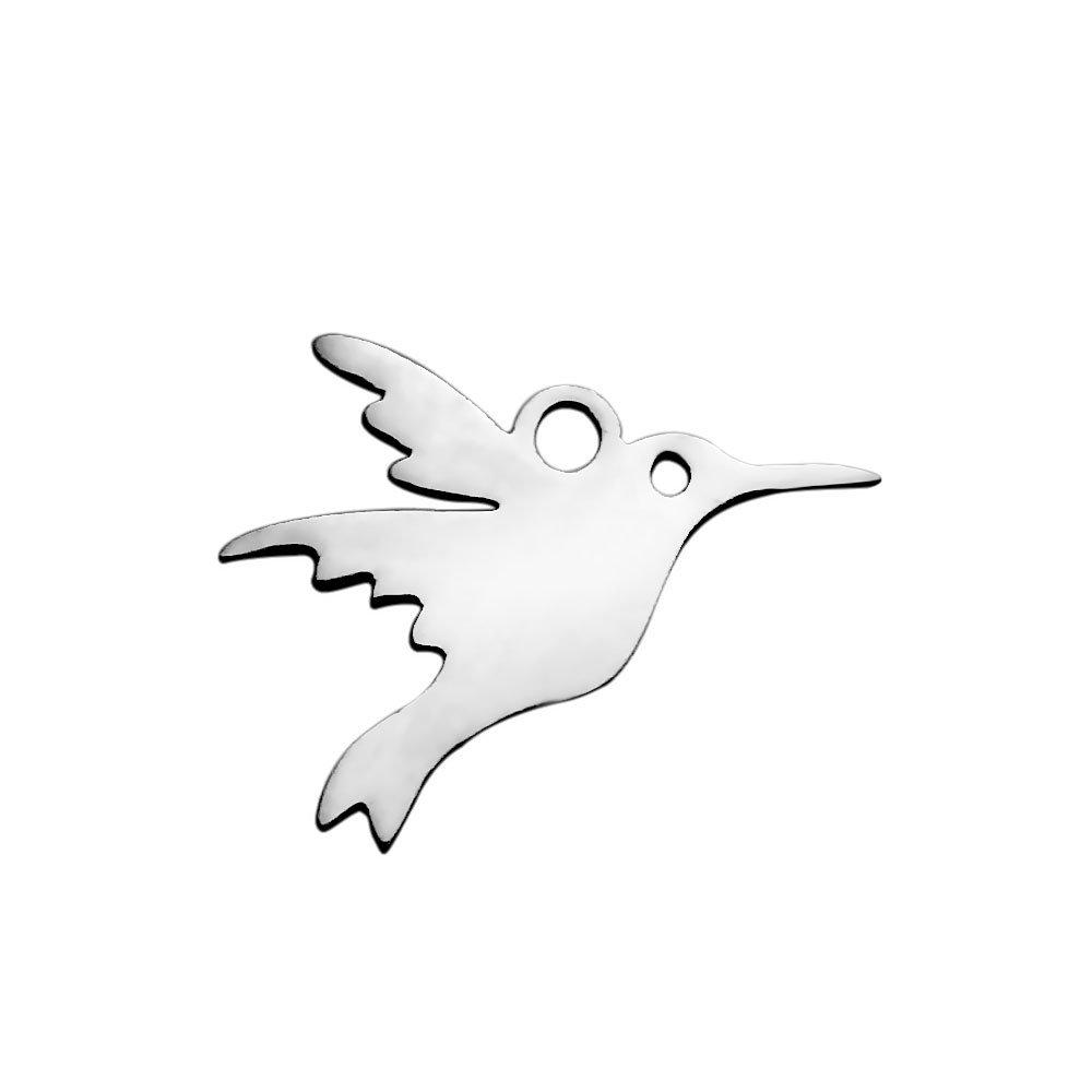 Přívěsek z nerezové oceli - kolibřík - 13,5 x 16,5 x 1 mm - 1 ks
