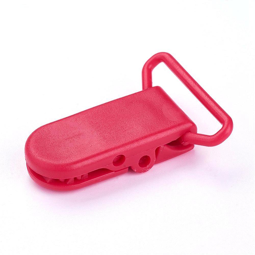 Plastový klip na dudlík - červený - 43 x 31 x 9 mm - 1 ks