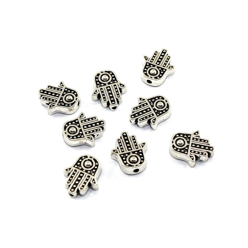 Kovový korálek - starostříbrný - hamsa - 12 x 10 x 4 mm - 1 ks