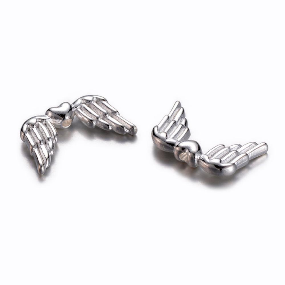 Kovová andělská křídla - stříbrná - 18,5 x 11 x 3,5 mm - 1 ks