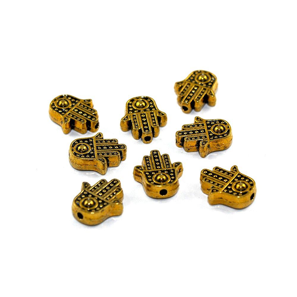 Hamsa - zlatá - 12 x 10 x 4 mm - 1 ks