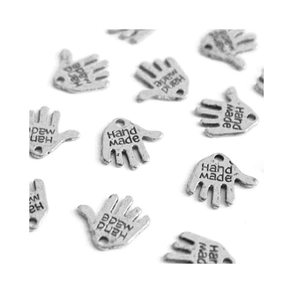 Přívěsek dlaň  - handmade - stříbrná - 12,5 x 12 x 0,8 mm - 1 ks