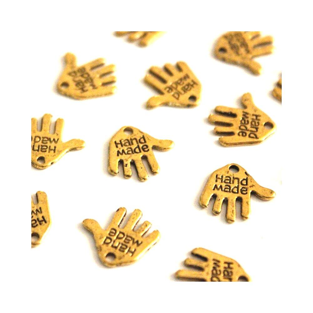 """Kovový přívěsek - zlatý - dlaň s nápisem """"hand made"""" - 12,5 x 12 x 0,8 mm - 1 ks"""