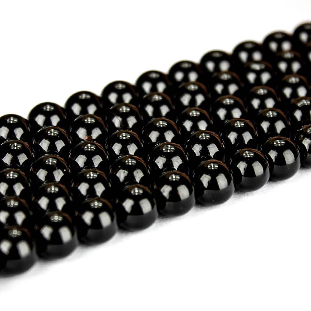Přírodní černý turmalín - ∅ 8 mm - 1 ks
