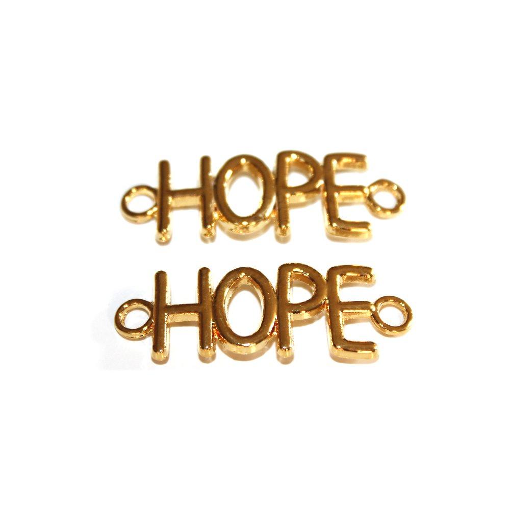 "Kovový mezidíl - zlatý - ""HOPE"" - 12 x 33 x 3 mm - 1 ks"