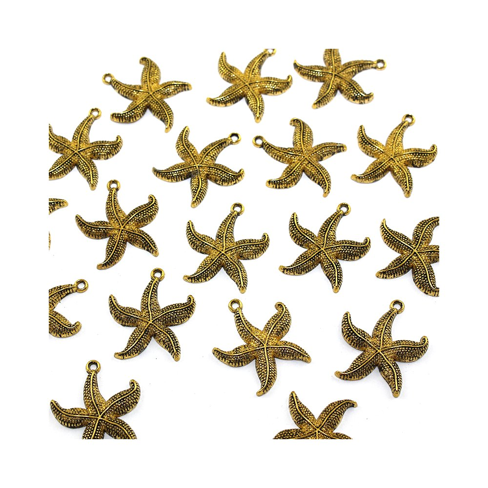 Hvězdice - zlatá - 26 x 24 x 3 mm - 1 ks