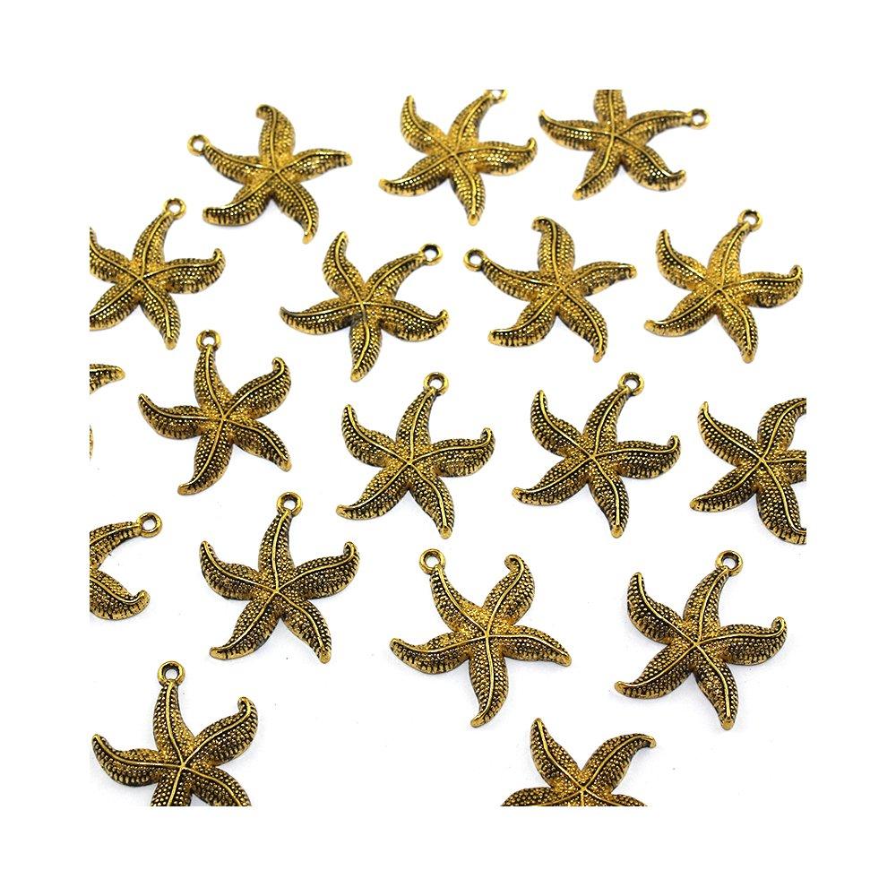 Kovový přívěsek - zlatý - hvězdice - 26 x 24 x 3 mm - 1 ks