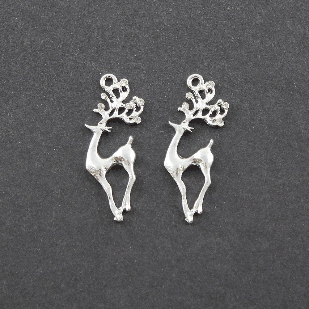 Kovový přívěsek - stříbrný - jelen s kamínky - 38 x 17 x 2,5 mm - 1 ks