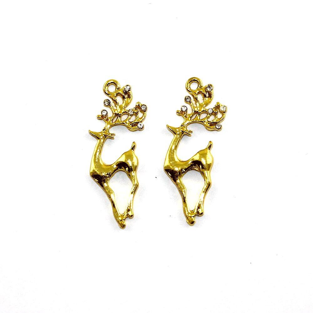 Kovový přívěsek - zlatý - jelen s kamínky - 38 x 17 x 2,5 mm - 1 ks