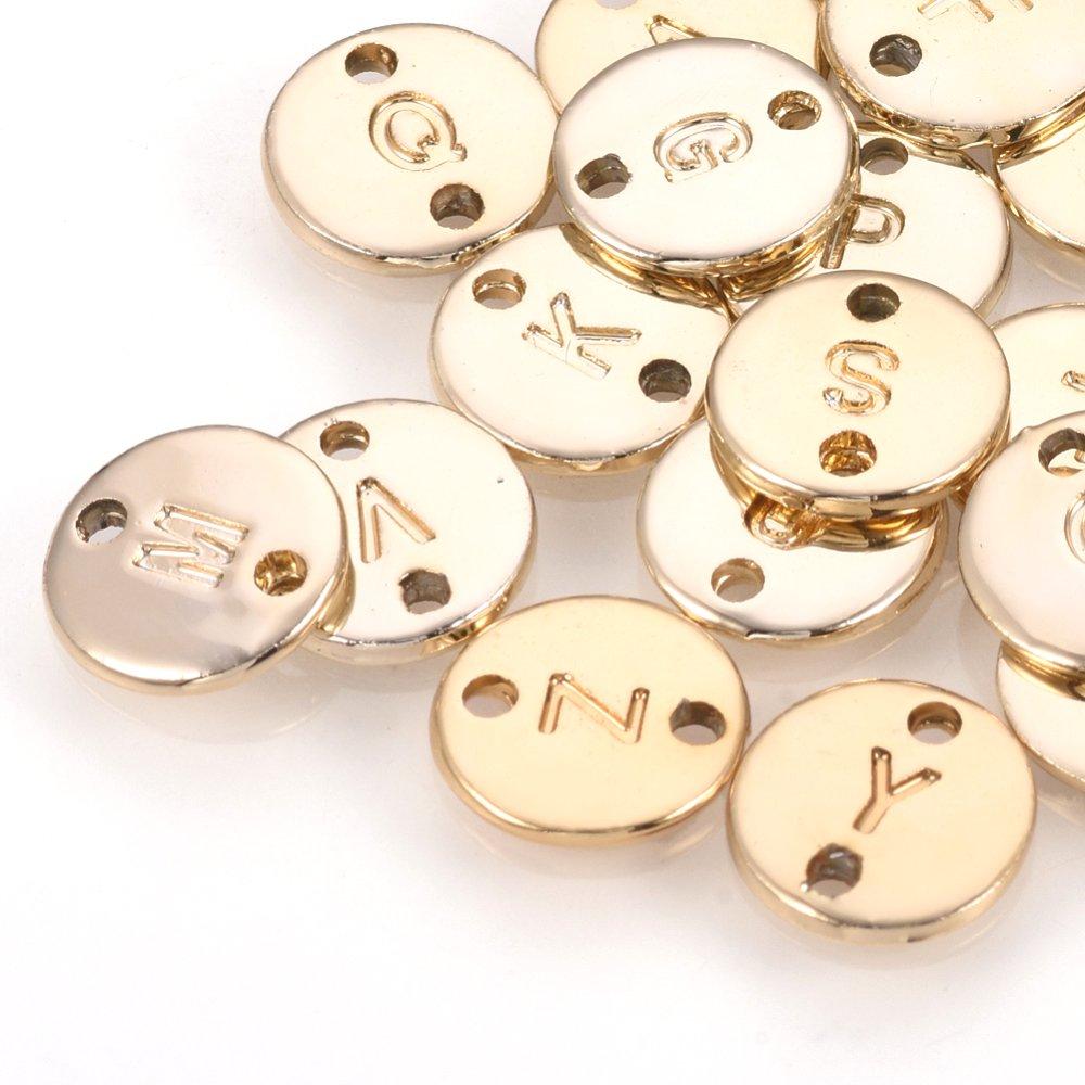 Kovový mezidíl - zlatý - placička s písmenem A - Z - 10 x 10 x 1,5 mm - 1 ks