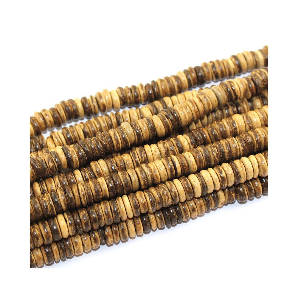 Kokosové korálky - 8 x 2 mm - čokoládové - 10 ks