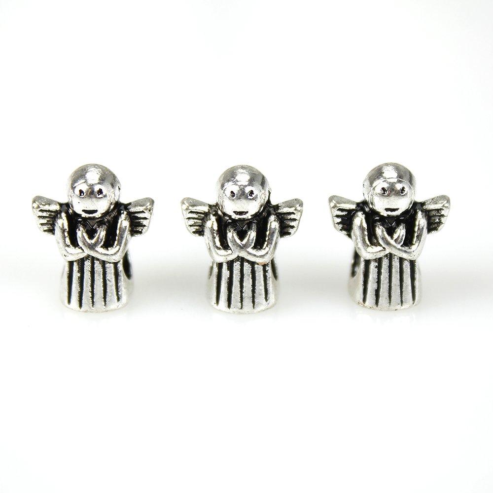 Korálek s širokým průvlekem - anděl - stříbrný - 13 x 11 x 8 mm - 1 ks