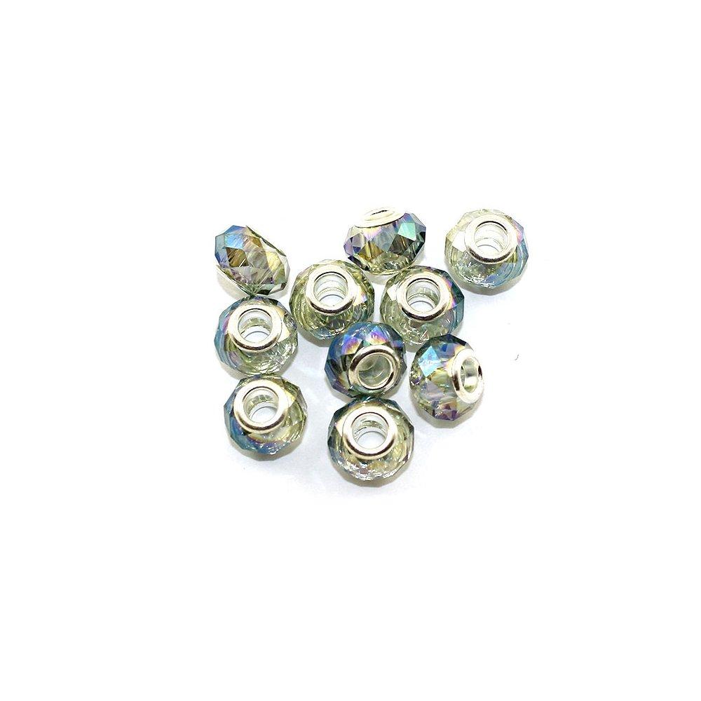 Korálky evropského typu - 14 x 10 mm - AB efekt - 1 ks