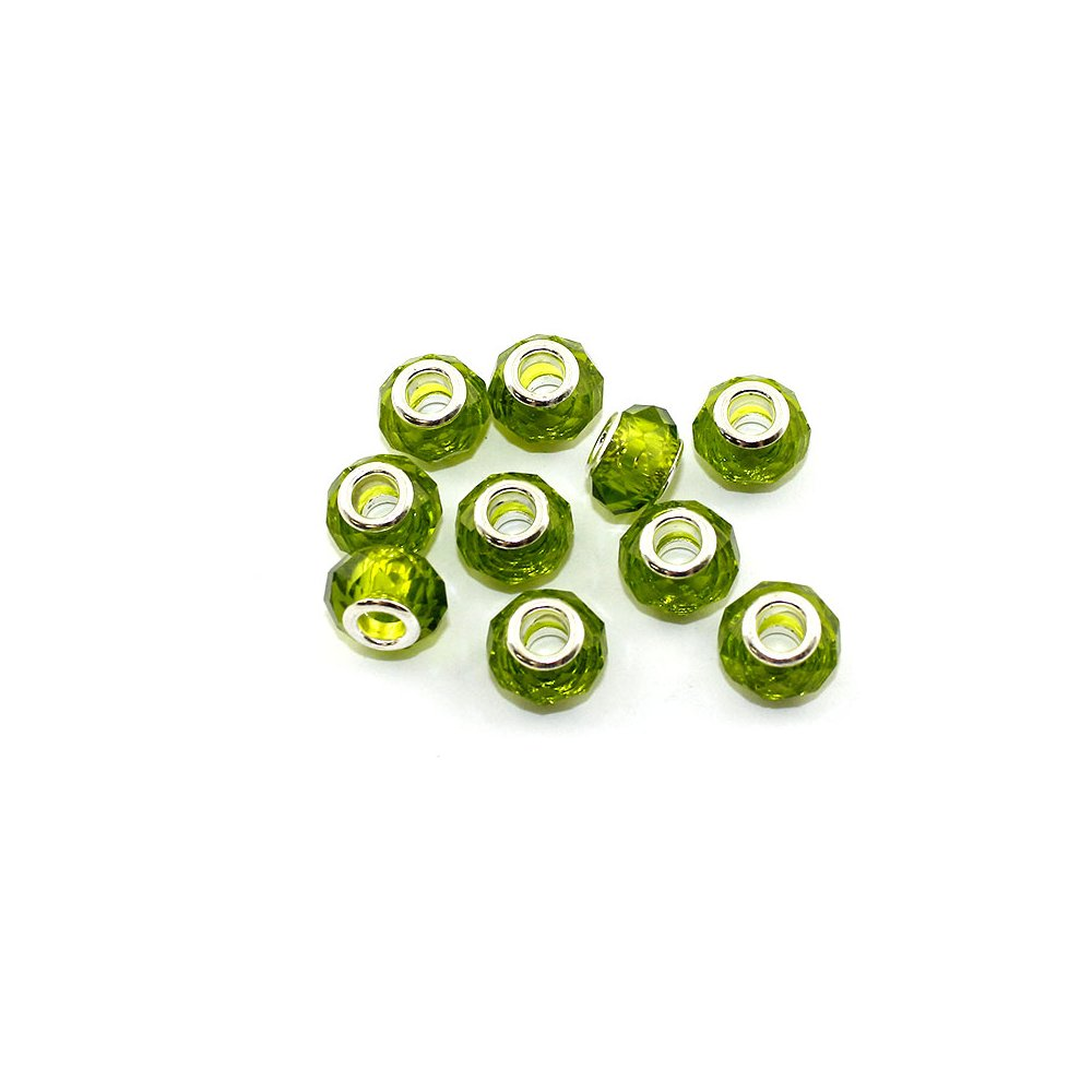 Korálky evropského typu - 14 x 10 mm - zelenožluté - 1 ks