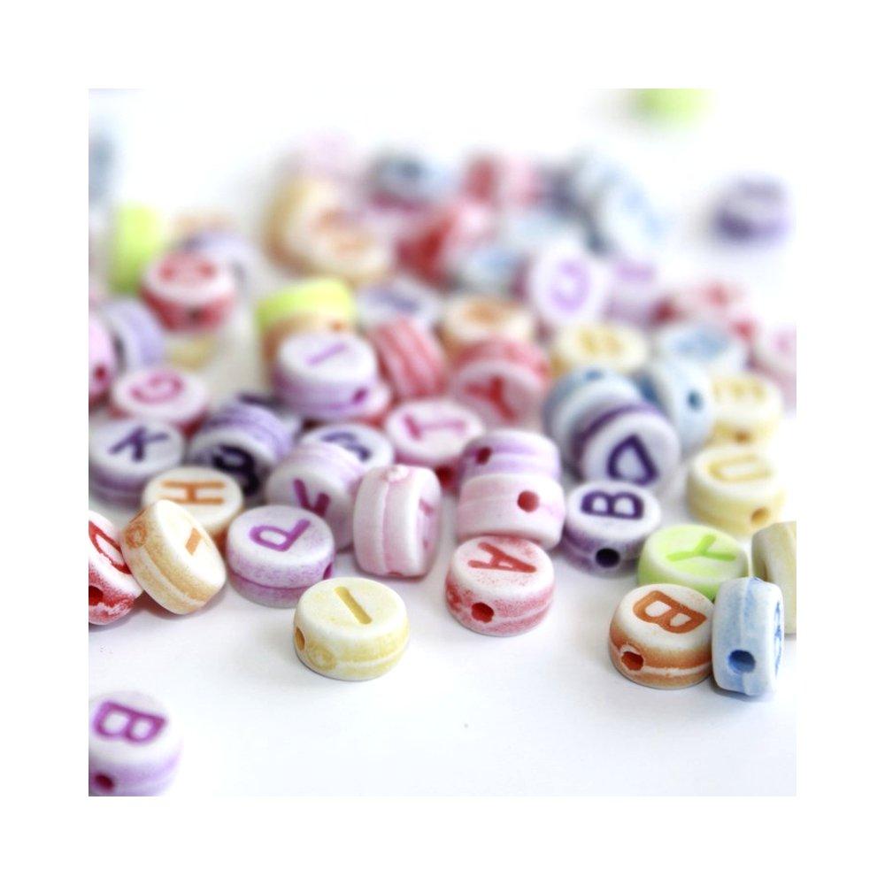 Akrylové korálky s písmenky - barevné lentilky - 50 g