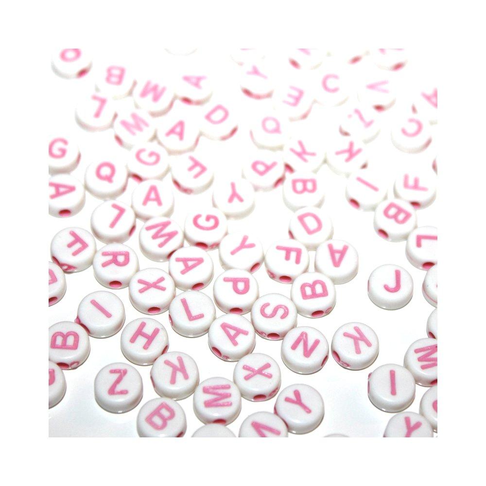 Korálky s písmenky - růžové - 50 g