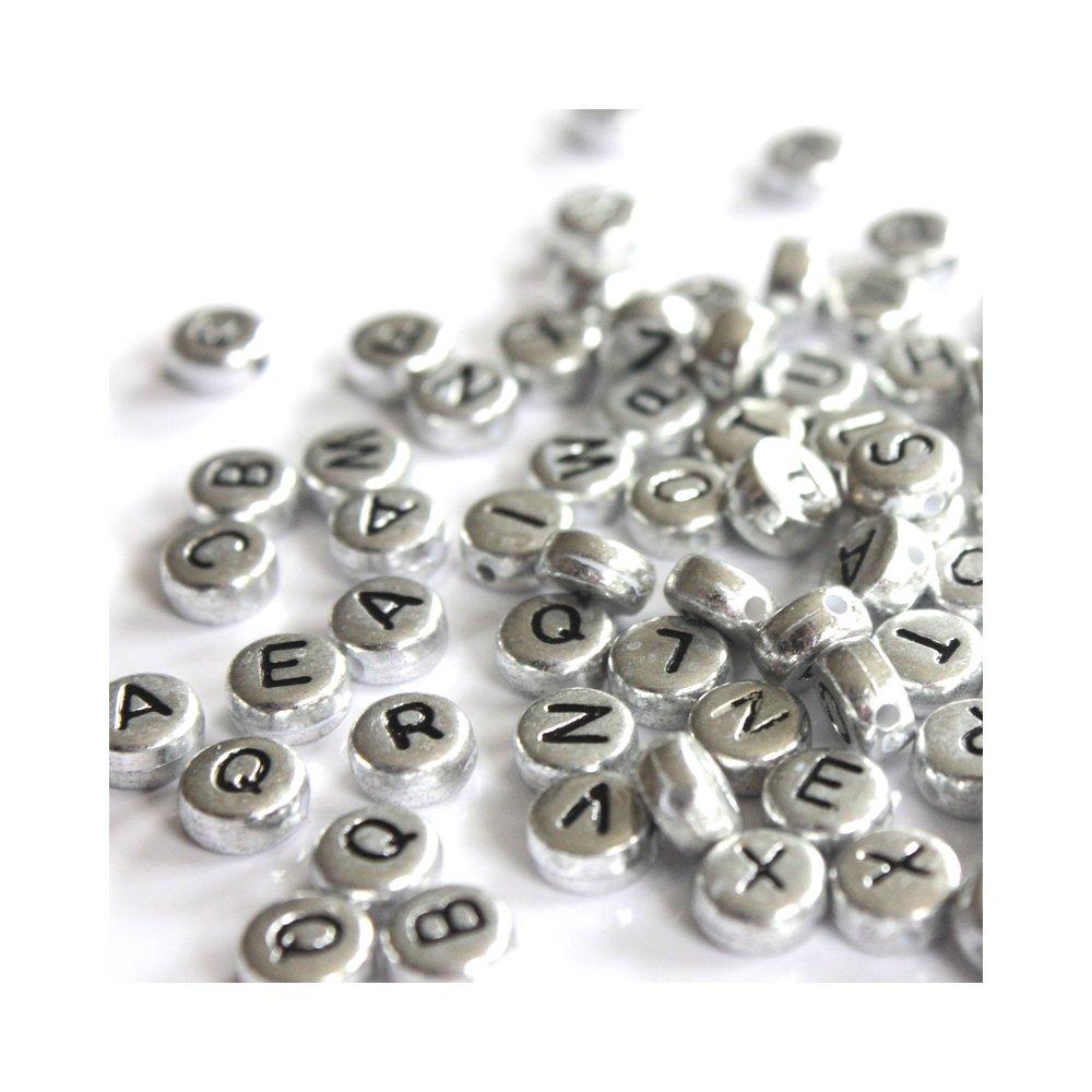 Akrylové korálky s písmenky - stříbrné lentilky - 50 g