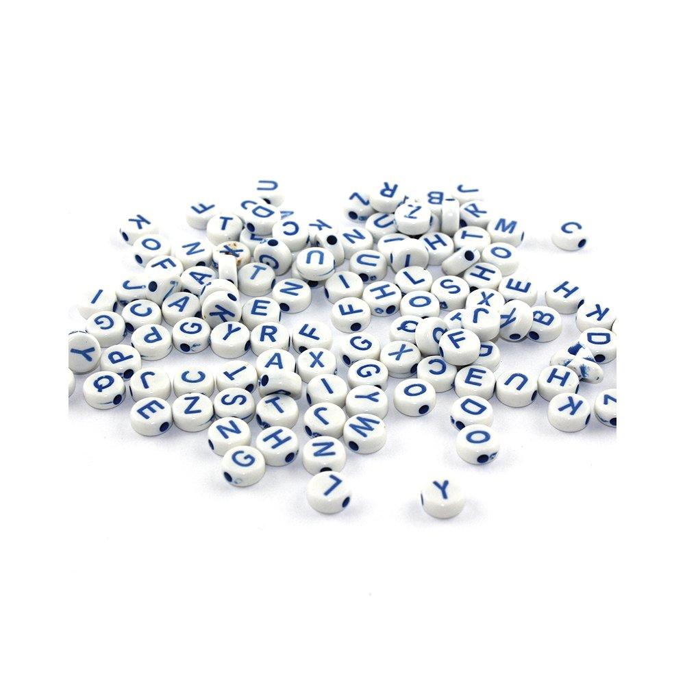 Korálky s písmenky - tmavě modré - 50 g