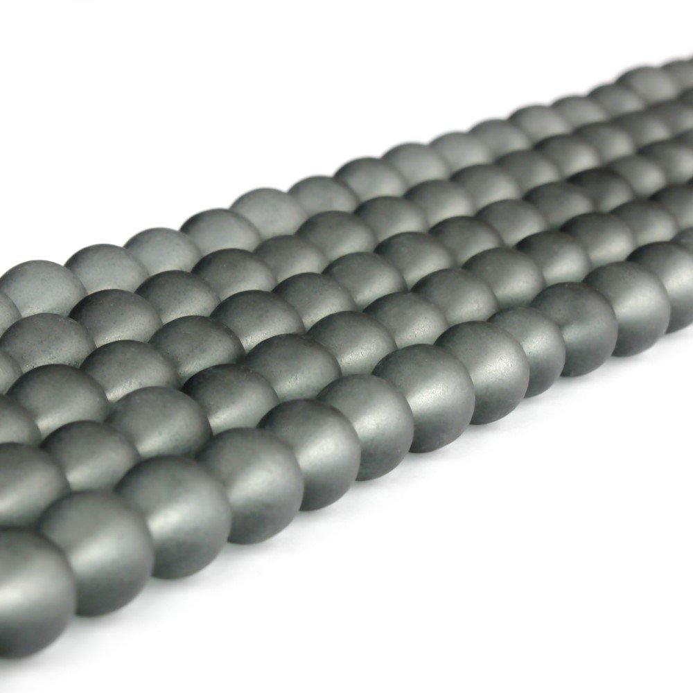 Matné korálky - šedé - ∅ 6 mm - 10 ks
