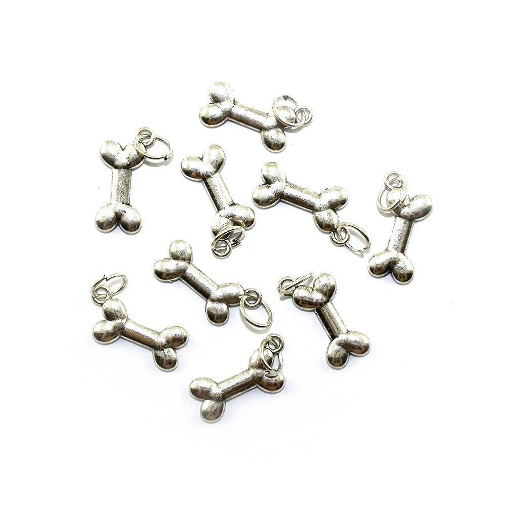 Kovový přívěsek - stříbrný - kost - 23 x 10 x 3 mm - 1 ks