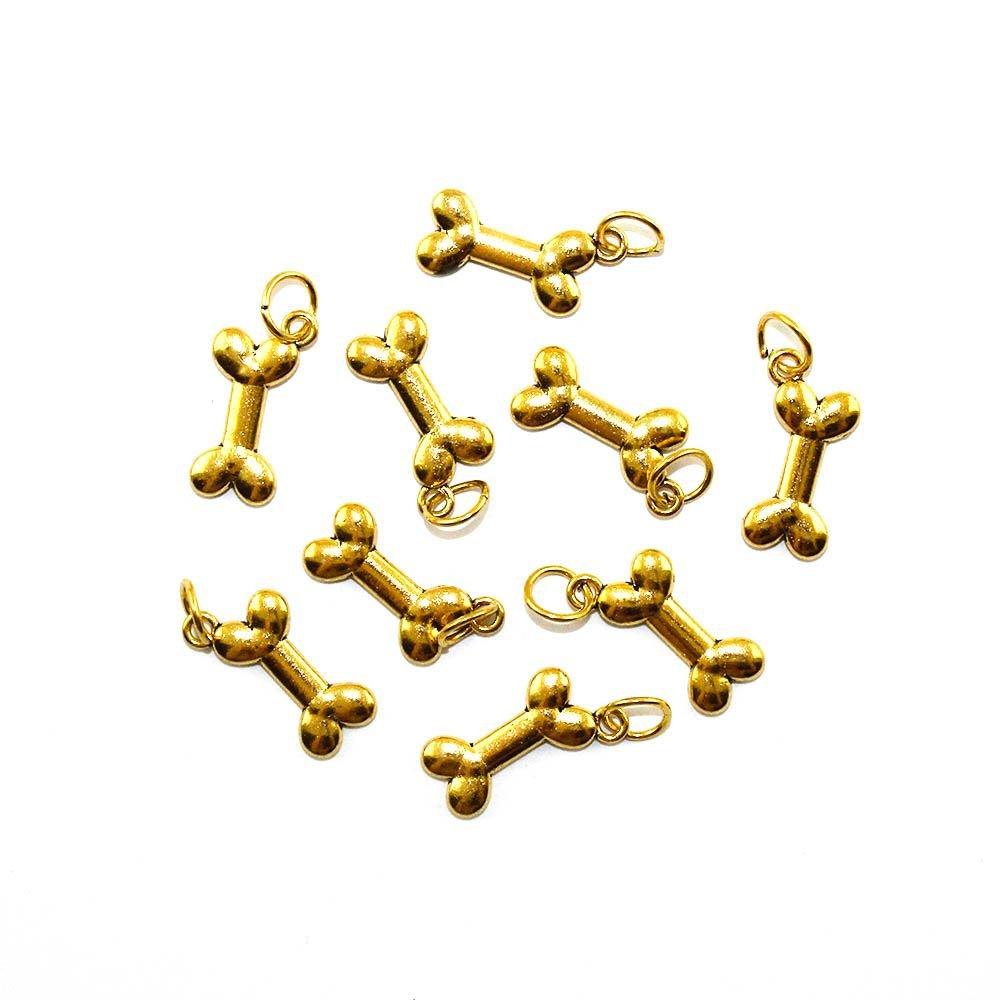 Kovový přívěsek - zlatý - kost - 23 x 10 x 3 mm - 1 ks