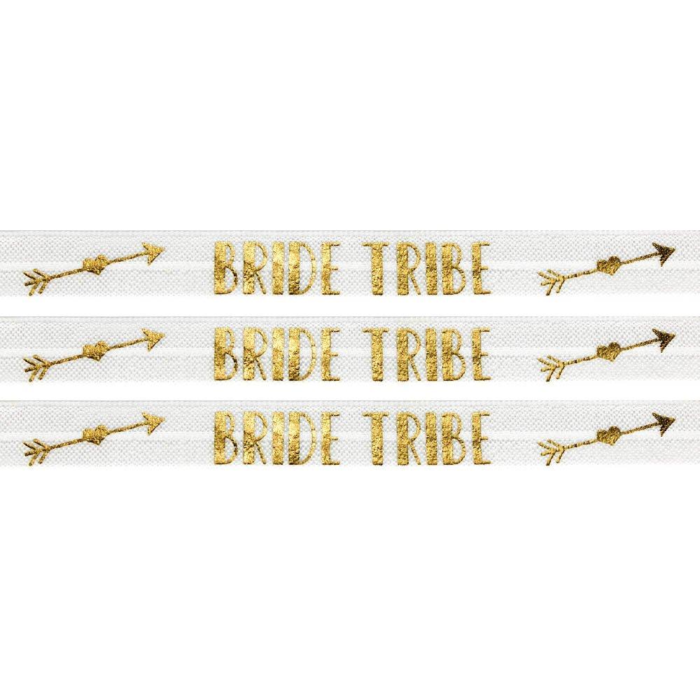 """Elastická stuha - bílá - """"bride tribe"""" - 1,5 cm - 30 cm - 1 ks"""