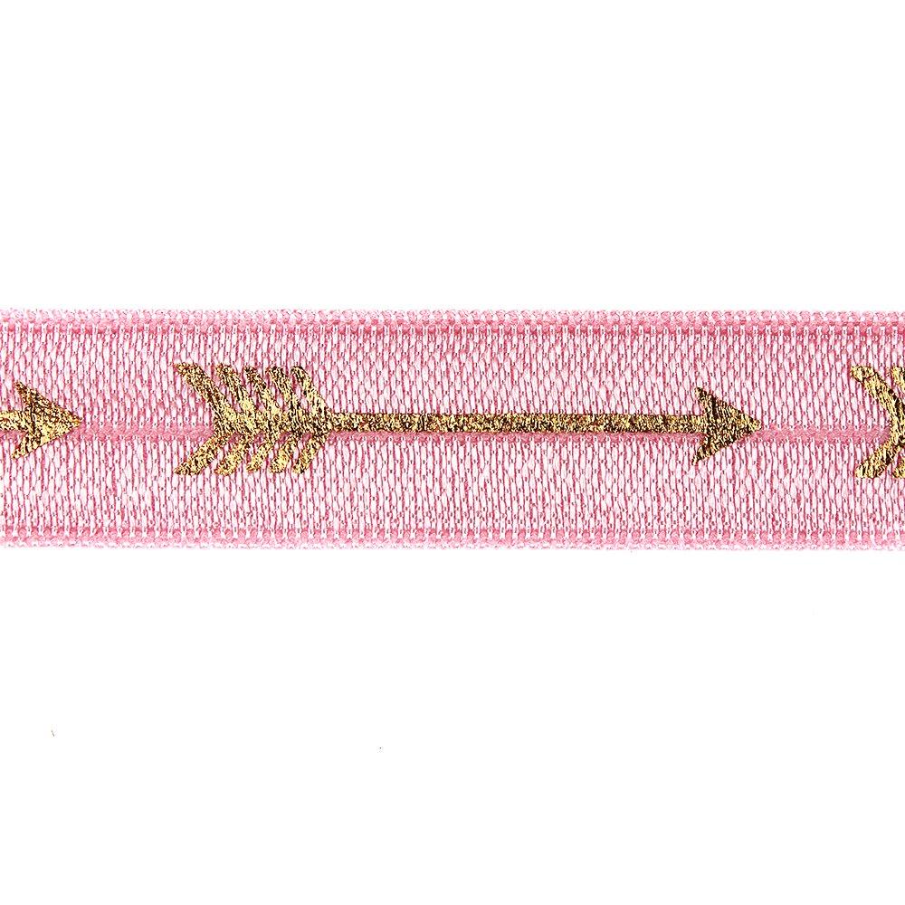 Elastická stuha - středně růžová - šíp - 1,5 cm - 30 cm - 1 ks