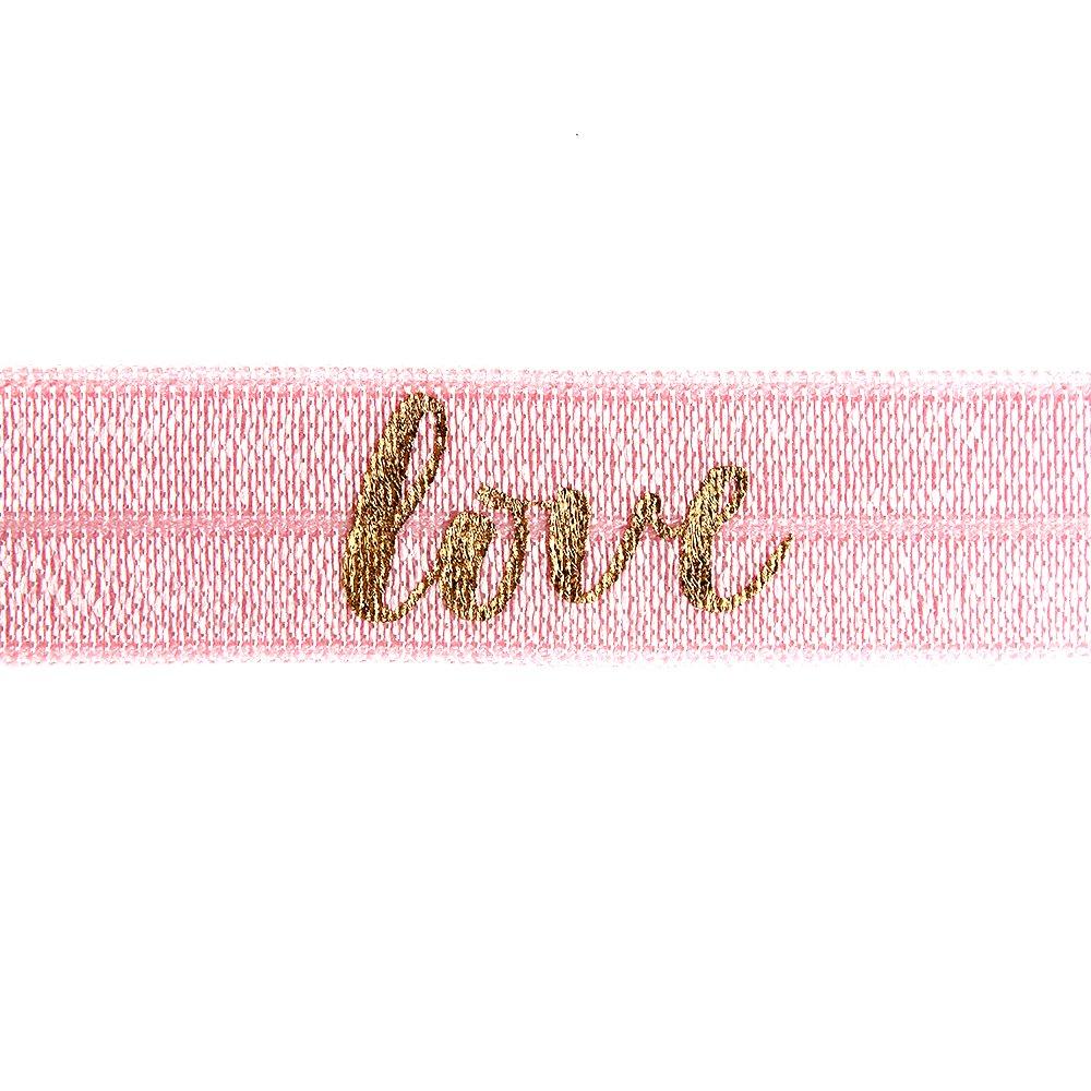 """Elastická stuha - světle růžová - """"love"""" - 1,5 cm - 30 cm - 1 ks"""